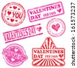 Rectangular, triangular and round valentines day rubber stamp vectors  - stock photo