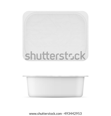 Rectangular white matt plastic tub with foil lid for dairy products - cream cheese, butter, margarine, spread, sour cream, cottage cheese.. Realistic packaging mockup template. Top and front view 200g