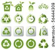 Recycle green icons set. ecology & nature image. - stock photo