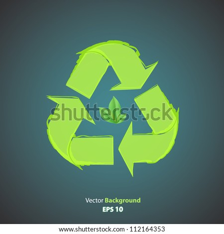 Recycle icon with leaf inside. Vector design.