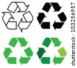 recycle sign in different format, for eco environments. - stock photo