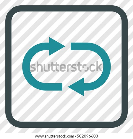 Recycle soft blue vector icon. Image style is a flat iconic symbol inside a rounded square frame on a transparent diagonally hatched background.