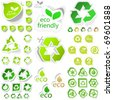 Recycle symbol. Save energy icon. Green eco stickers. Protect the environment illustration. - stock vector