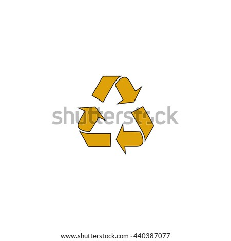 Recycling Flat yellow thin line symbol on white background. Vector icon