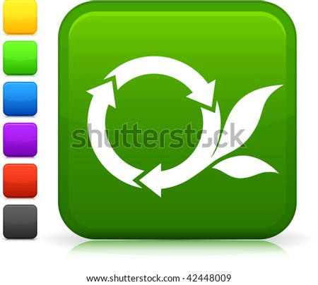 Recycling icon on square internet button  Six color options included.