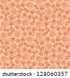 Red abstract spiral pattern. Seamless ethnic background with circles looks like crocheting doily. Oriental endless pattern - stock photo