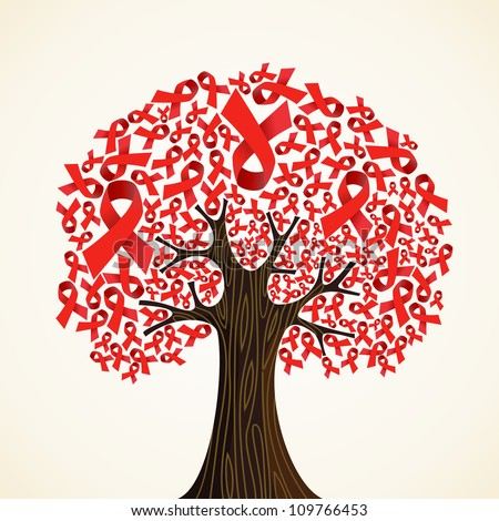 Red AIDS ribbons concept tree. Vector illustration layered for easy manipulation and custom coloring.