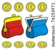 Red and blue coin purse wallet icons closed and open with coins. - stock vector