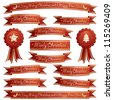 red and gold christmas ribbons and rosettes, isolated on white - stock vector