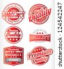 red and white premium quality labels - stock vector