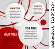 Red and white round abstract banners on striped gray background, vector - stock vector