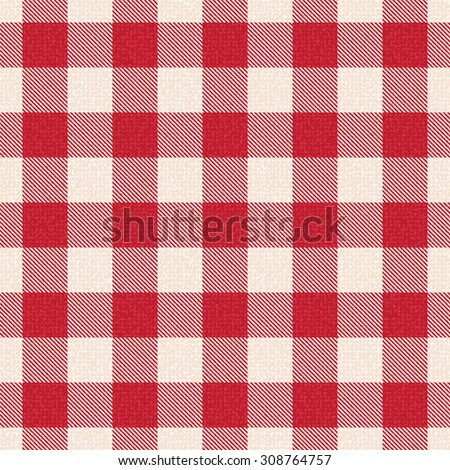 Red and white textured plaid gingham vector pattern background 1