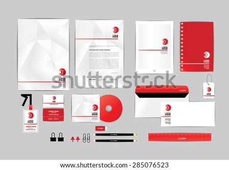Red Corporate Identity Template Your Business Stock Vector ...