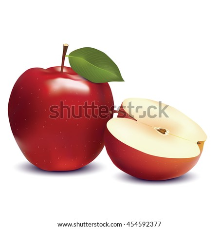 Red apple and slice isolated on white photo-realistic vector illustration
