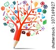 Red apple tree pencil with back to school concept. - stock photo