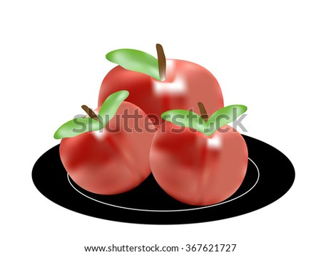 red apples on a plate isolated on white background