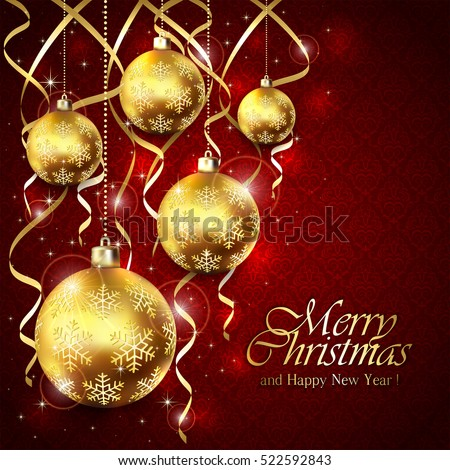 Red background with Christmas balls and tinsel, lettering Merry Christmas and Happy New Year with golden holiday decoration, illustration.