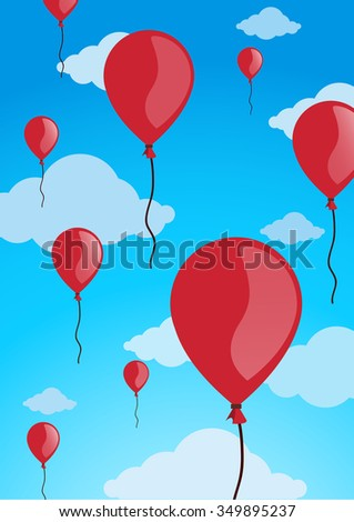 red balloons in the sky vector