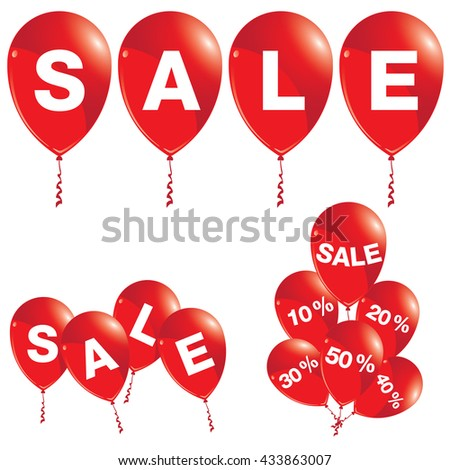 Red balloons with sale announcement. Balloons with sale isolated on white background.