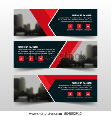 Red Black Ribbon Abstract Triangle Corporate Stock Vector