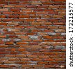 Red brick wall background. Vector illustration. - stock