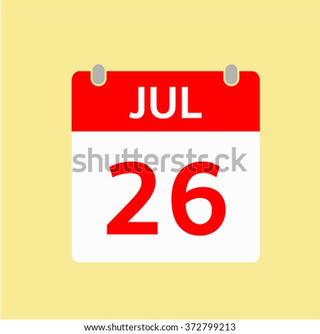 Red Calendar icon - Jul 26