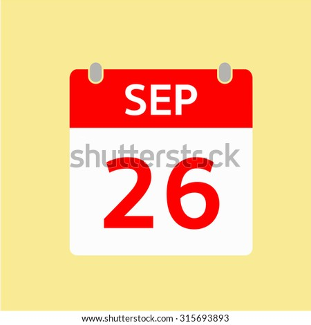 Red Calendar icon - Sep 26
