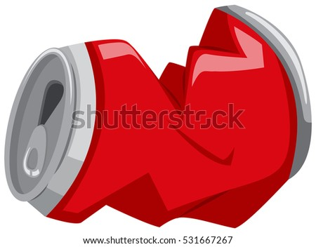crushed can clipart. red can in bad shape illustration crushed clipart a