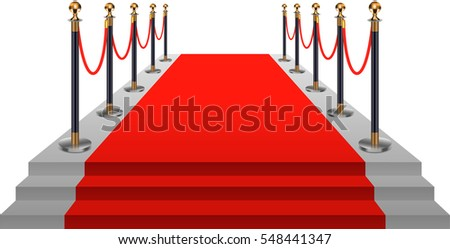 Red carpet with gold stanchions.