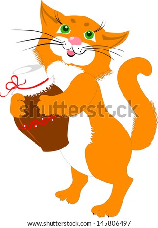 red cat with a jug of milk