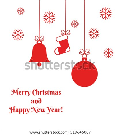 Red Christmas ornaments card. Vector illustration
