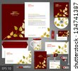 Red corporate identity template with golden floral elements. Vector company style for brandbook and guideline. EPS 10 - stock vector