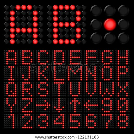 Red digital alphabetic and numeric characters on black
