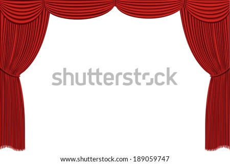 Red drapes curtain. No mash no gradient. Vector