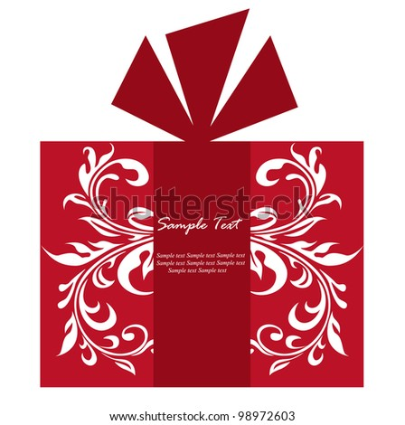 Red floral gift box card