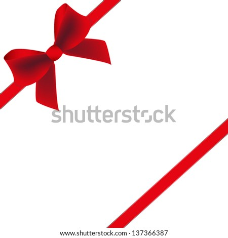 Red gift bow with ribbon. Vector