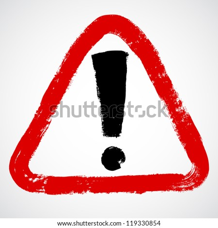 ... painted exclamation / warning / danger triangle traffic sign / icon