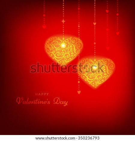 Red Happy Valentine's Day background with hearts. Vector greeting card. Editable blend options.