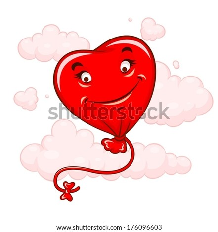 Red heart flying among clouds. Eps10 vector illustration. Isolated on white background