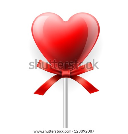 Red heart-lollipop with bow isolated on white