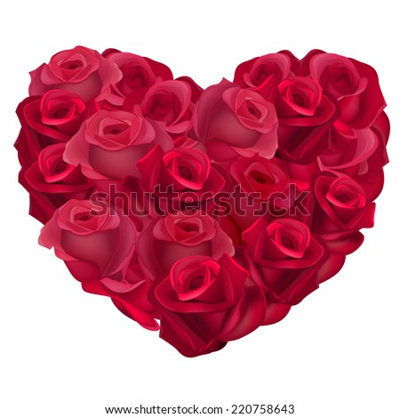 Red heart made of realistic roses.Vector.