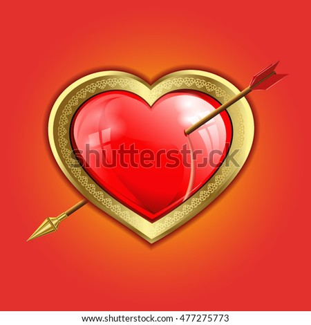 red heart with a gold border is punched with an arrow with a gold tip