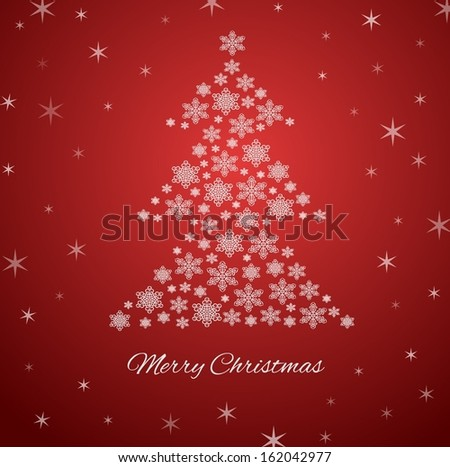 Red holiday winter background with snowflakes