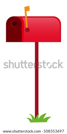 Red mailbox with yellow flag illustration