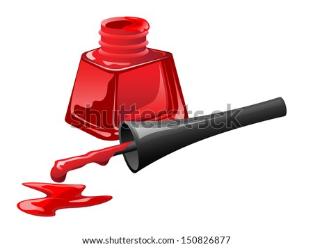 Red nail polish in open flagon and drop beside, vector illustration