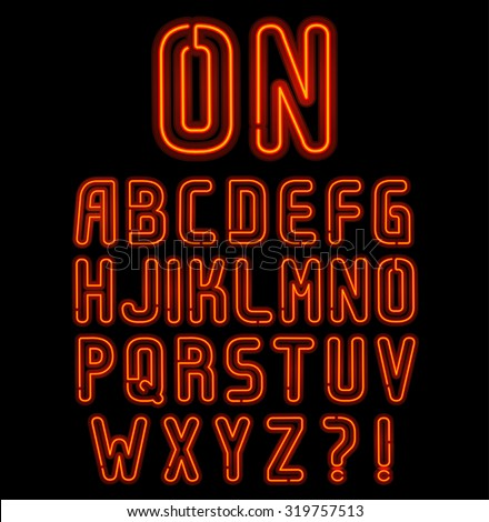 Red neon font part 1 of 2, Complete Alphabet