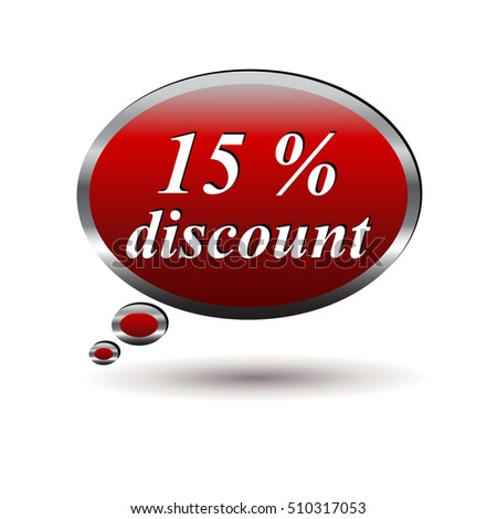 Red 15 percent discount speech bubble