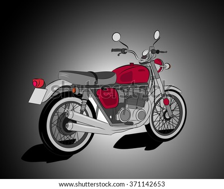 Red retro motorcycle illustration