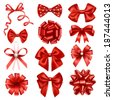 Red ribbon bows - stock vector