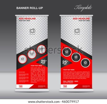 Roll Banner Stand Template Advertisement Flyer Stock Vector ...